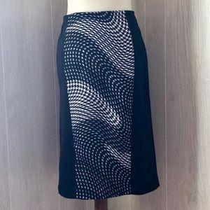 Bisou Bisou Pencil Skirt Black/White Swirl Pattern